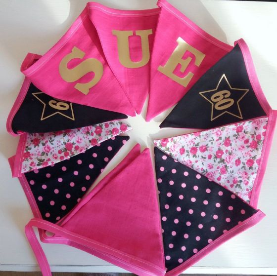 Personalised Hand Made Birthday Bunting Cerise Pinks And Black